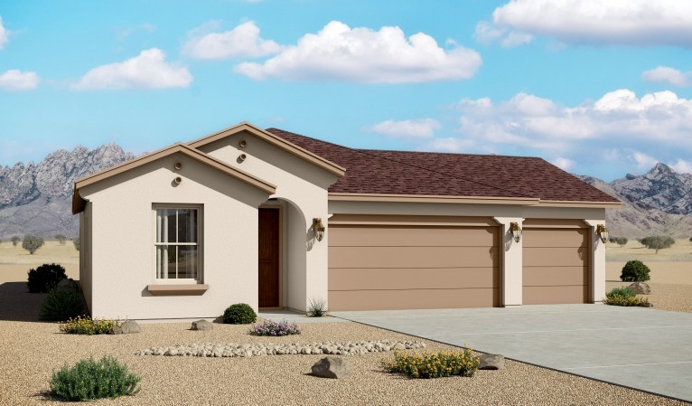 Mountain Hawk 1907 3 Car Garage Mediterranean Elevation